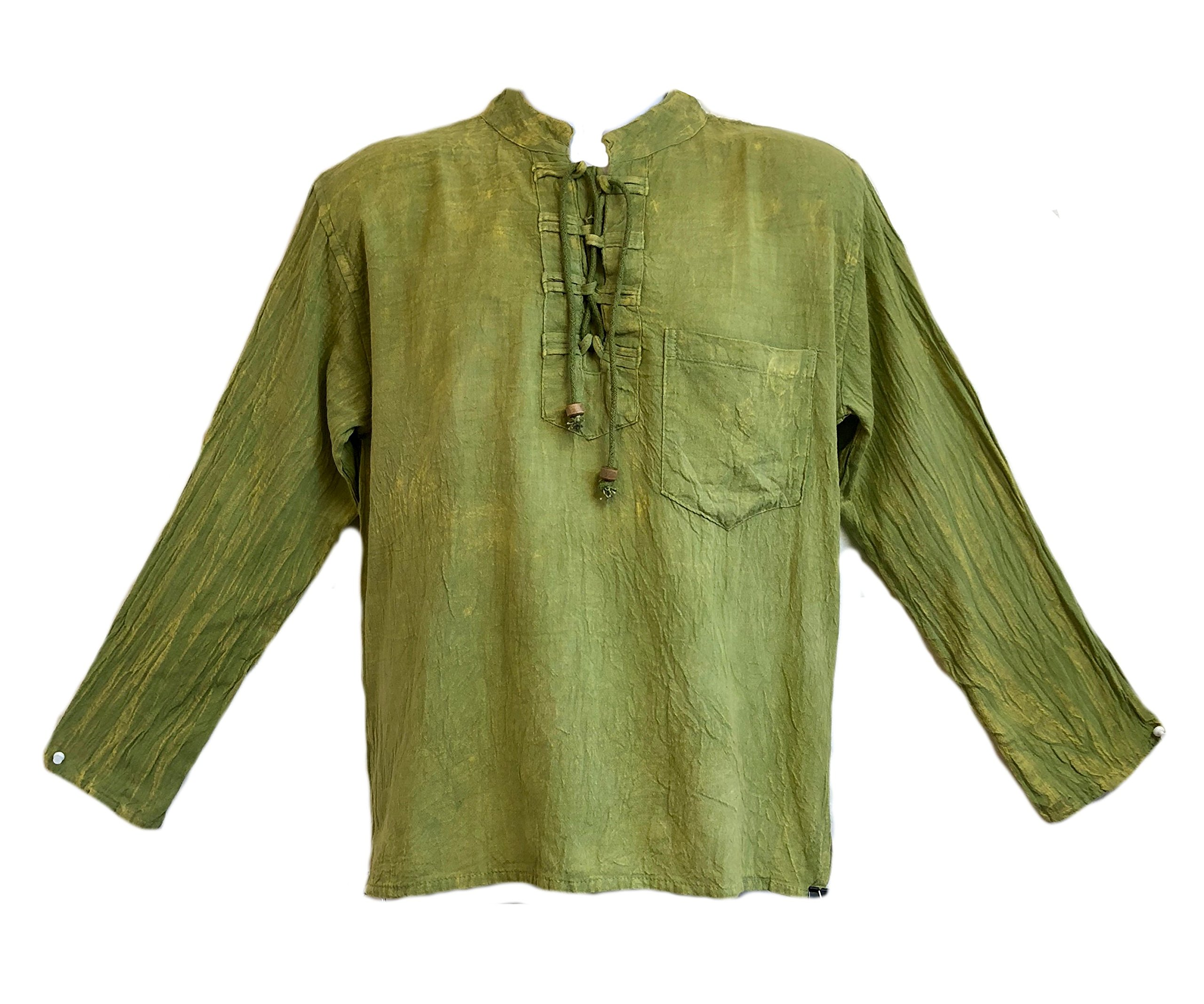 Yak & Yeti Men's Kurta Stone Washed Lightweight Cotton Embroidered Mandarin Style Collar (XXL, Green Lace up)