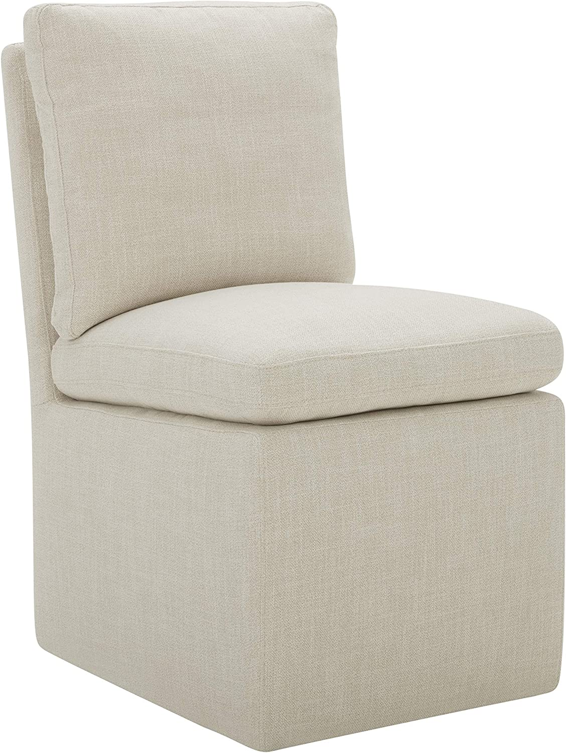 """Amazon Brand – Stone & Beam Vivianne Modern Upholstered Armless Dining Chair with Casters, 19.7""""W, Linen"""