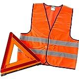 エーモン 三角停止板(反射ベスト付) 国家公安委員会認定品(交F08-1)+反射ベスト 6647