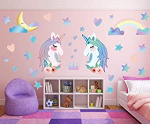 Unicorn Wall Decal Stickers, Large Size Unicorn Rainbow Wall Decor for Girls Kids Bedroom Nursery Christmas Birthday Party Decoration