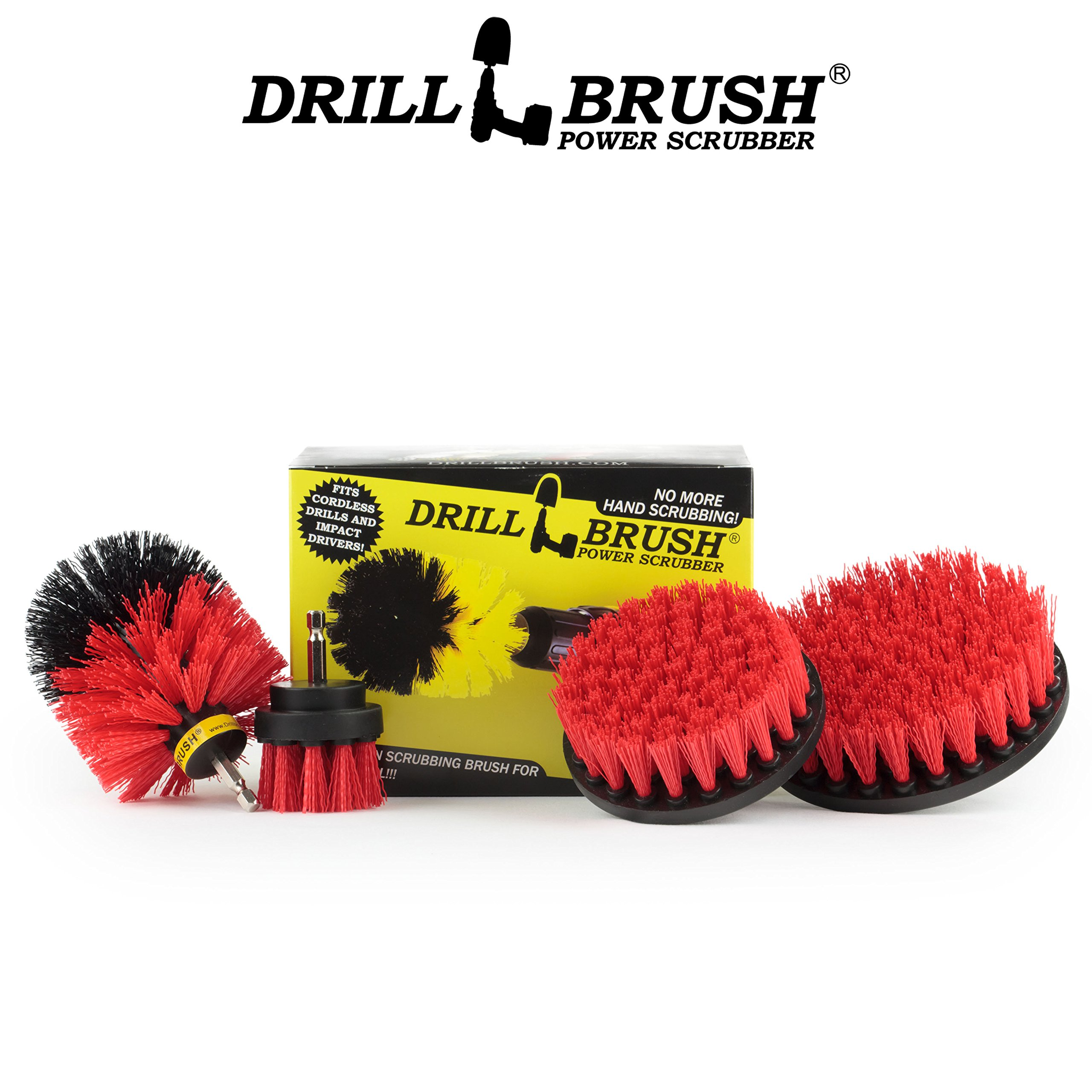 Stiff Bristle 4 Piece Drill Brush Nylon Cordless Drill Powered Spinning Brush Heavy Duty Scrubbing by Drillbrush by Drillbrush (Image #6)