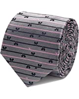 Disney Mens Mickey Mouse Tie Grey Striped