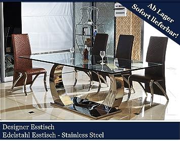 Designer Quarz Esstisch Edelstahl Esszimmer Tisch Glastisch Glas Hochglanz  200cmx100cmx75cm (200cmx100cmx75cm)