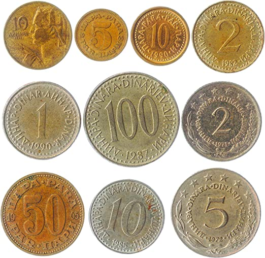 10 Yugoslavia Monedas Dinar DINARA para COLECCIONABLES Monedas Antiguas 1945-2003. Ideal para Banco DE Moneda, SOSTENEDORES DE Moneda Y Album DE Monedas: Amazon.es: Juguetes y juegos