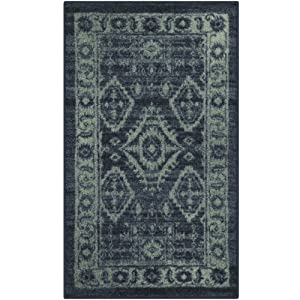 Maples Rugs Kitchen Rug - Georgina 1'8 x 2'10 Non Skid Small Accent Throw Rugs [Made in USA] for Entryway and Bedroom, Navy Blue/Green