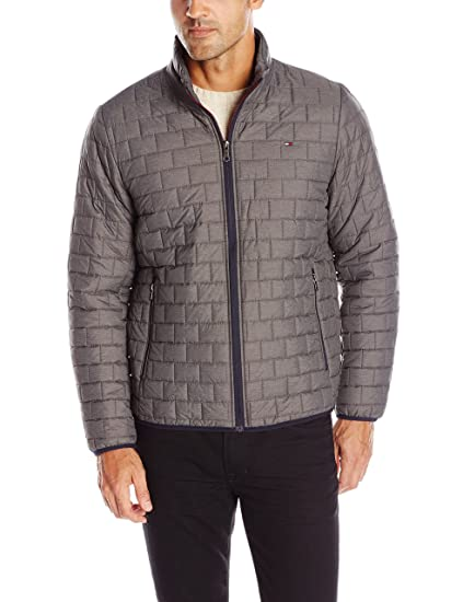Tommy Hilfiger Men's Ultra Loft Sweaterweight Quilted Packable Jacket, Heather Grey, Medium
