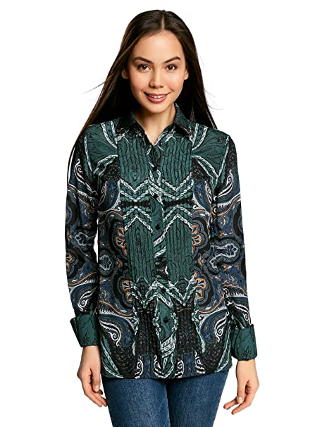 oodji Collection Mujer Blusa Ancha con Pespuntes Decorativos en el Pecho   Amazon.es  Ropa y accesorios 59fe14900555