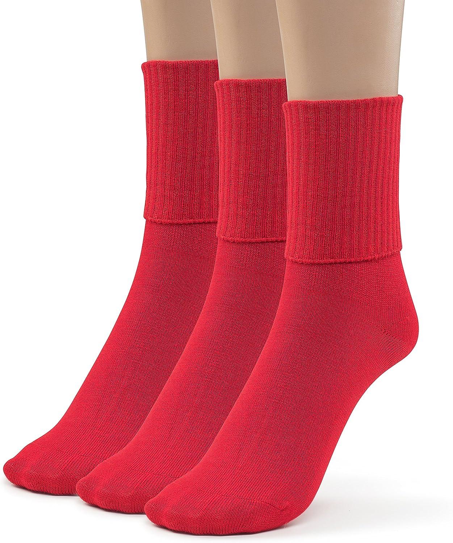 Silky Toes 3 Pk Womens Turn Cuff Bamboo Casual Socks Triple Roll Dress Crew Socks 9-11, Red -3 Pairs