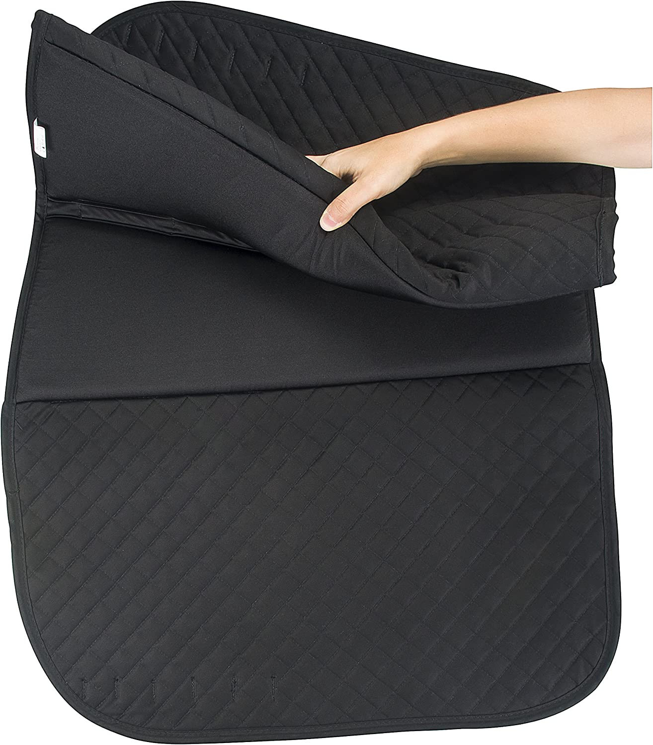 Large Black Success Equestrian Deluxe Dressage Friction Free NO Slip Saddle Pad