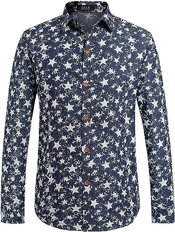 SSLR Camisa Vaquera Hombre Entallada Manga Larga Long Sleeve Shirt Estrellas (X-Large, Azul): Amazon.es: Ropa y accesorios