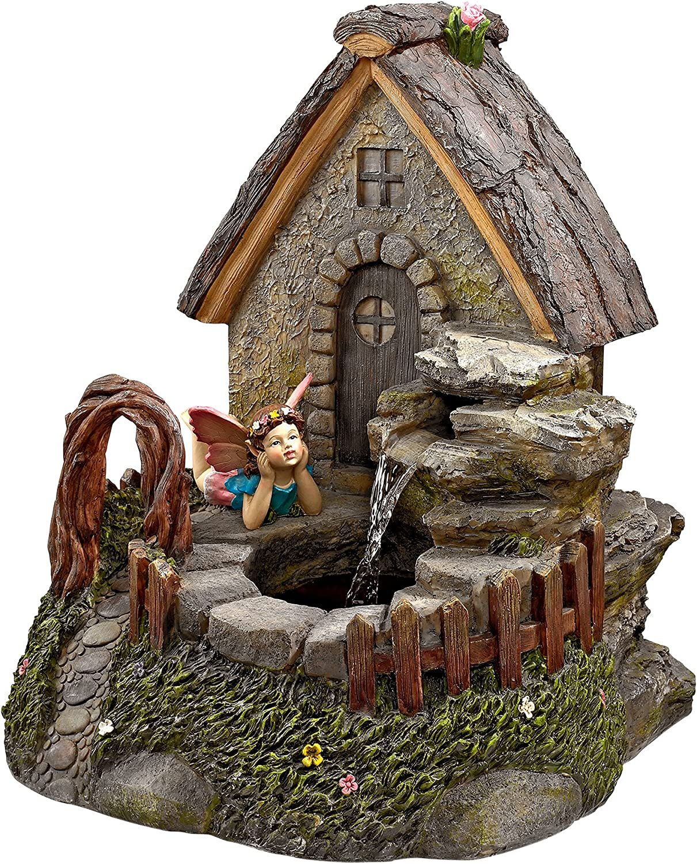 Water Fountain - Fairy Garden Village Sanctuary Garden Decor Fountain - Outdoor Water Feature