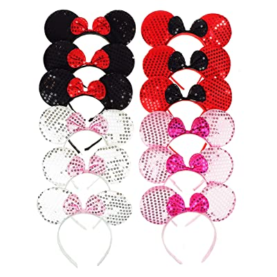 RufnTop Mickey and Minnie Mouse Ears Headband(Sequin Mix Set of 12): Health & Personal Care