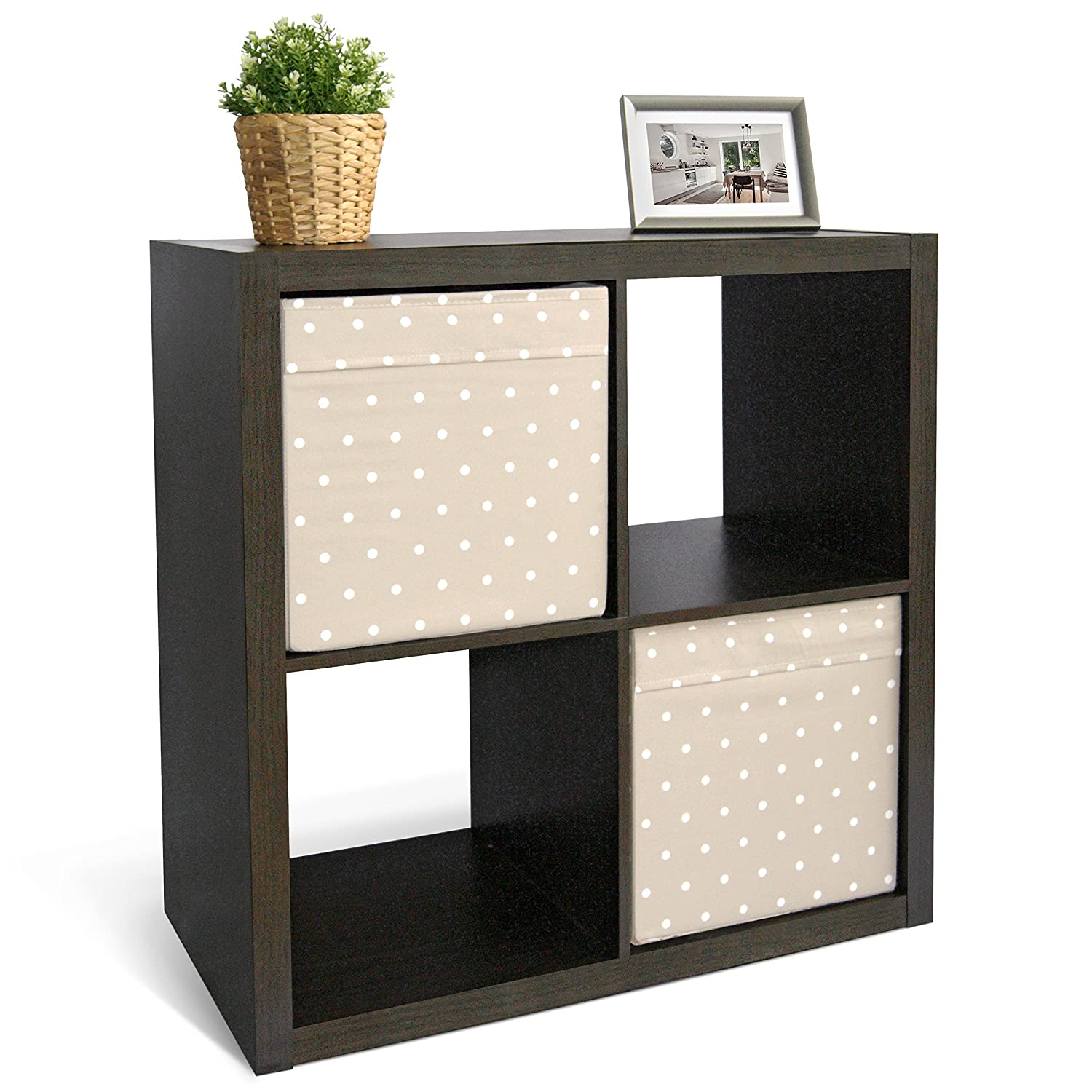 CAP LIVING 2 4 6 Cube Organizer w Extra Wide Frame, Sturdy Storage Room Divider, 2 x 1 2 x 2 2 x 3 Bookcase, Colors Available in Espresso and White Espresso, 4 Cube