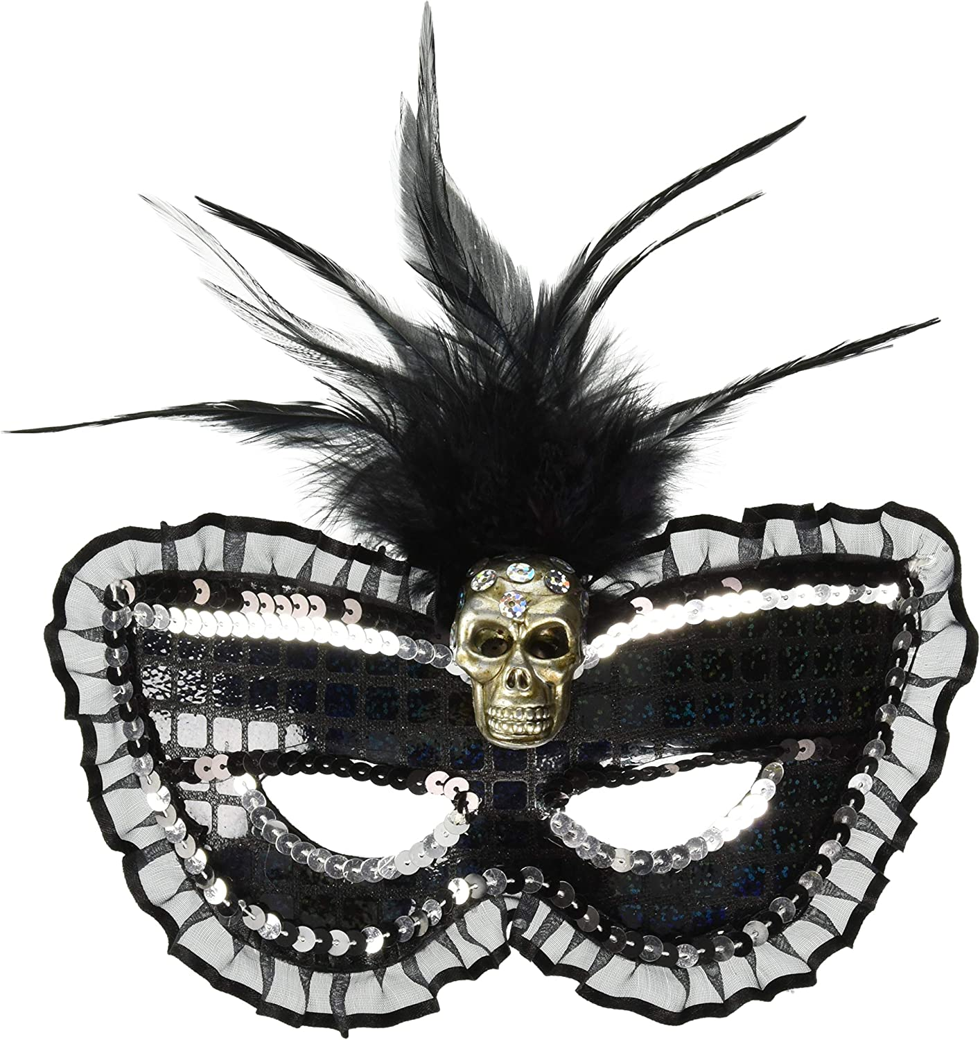 MASQUERADE BLACK MASK SILVER TRIM FEATHERS Womens Fancy Dress Costume Accessory