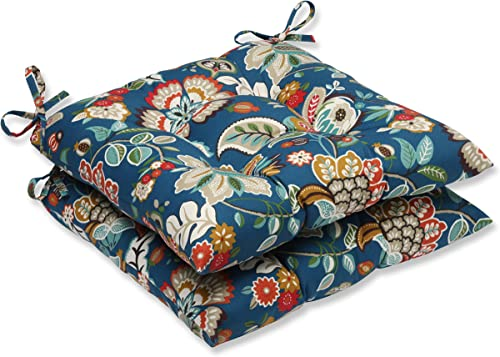 Pillow Perfect 573366 Outdoor Indoor Telfair Peacock Tufted Seat Cushions Square Back , 19 x 18.5 , Blue