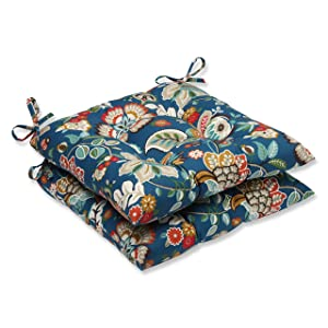 Pillow Perfect Outdoor Telfair Wrought Iron Seat Cushion, Peacock, Set of 2