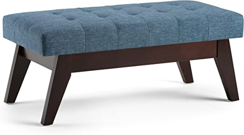 SIMPLIHOME Draper 40 inch Wide Rectangle Ottoman Bench Denim Blue Tufted Footrest Stool