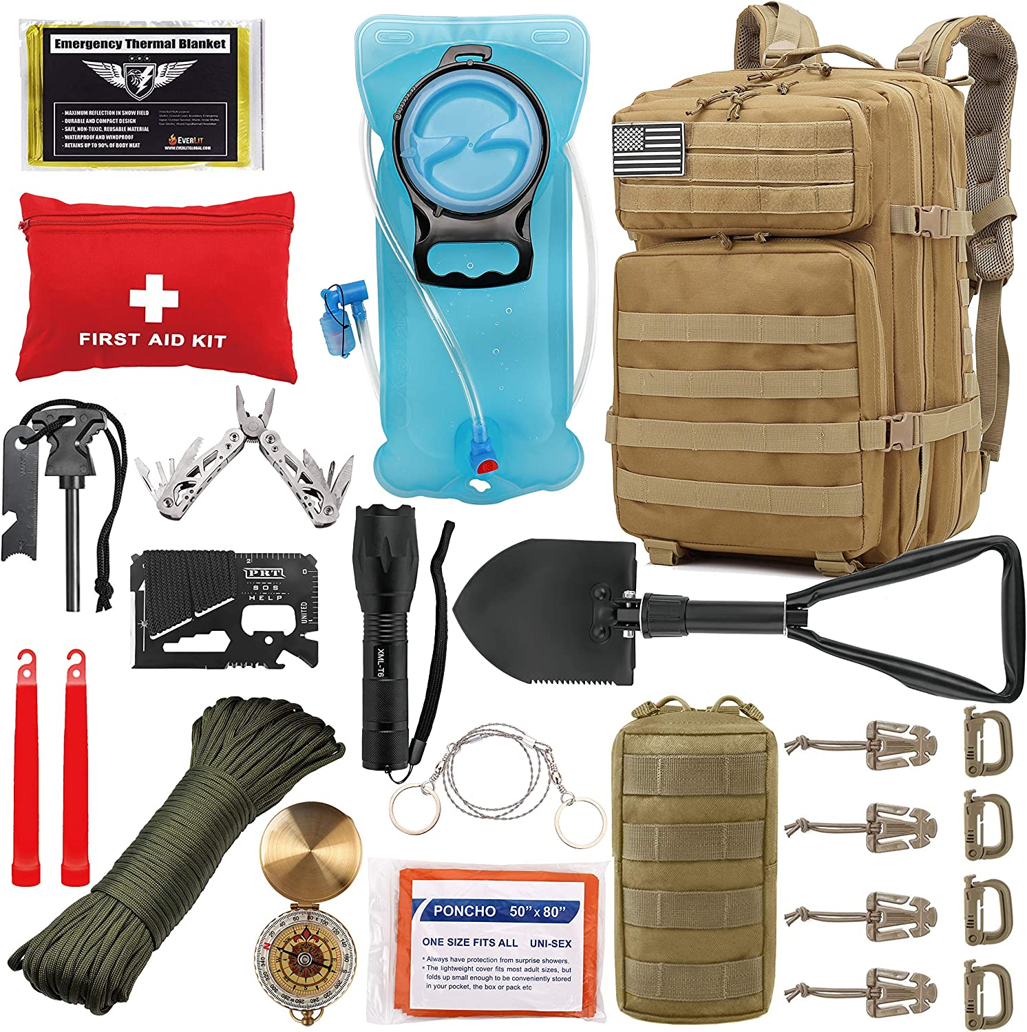 EVERLIT 42L Tactical Backpack Survival Kit Bugout Bag Assault Pack Rucksack with Hydration Bladder and Survival Gear 3 Day Rucksack Molle Outdoor Hiking Daypack Hunting