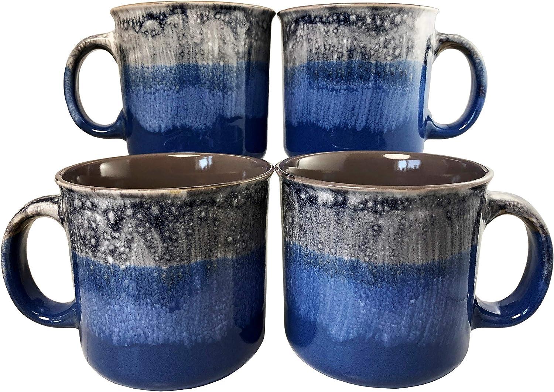 Reactive Glaze Coffee Mugs   Set of 4 (Blue)   18oz Ceramic Campfire Mugs   Microwave & Dishwasher Safe