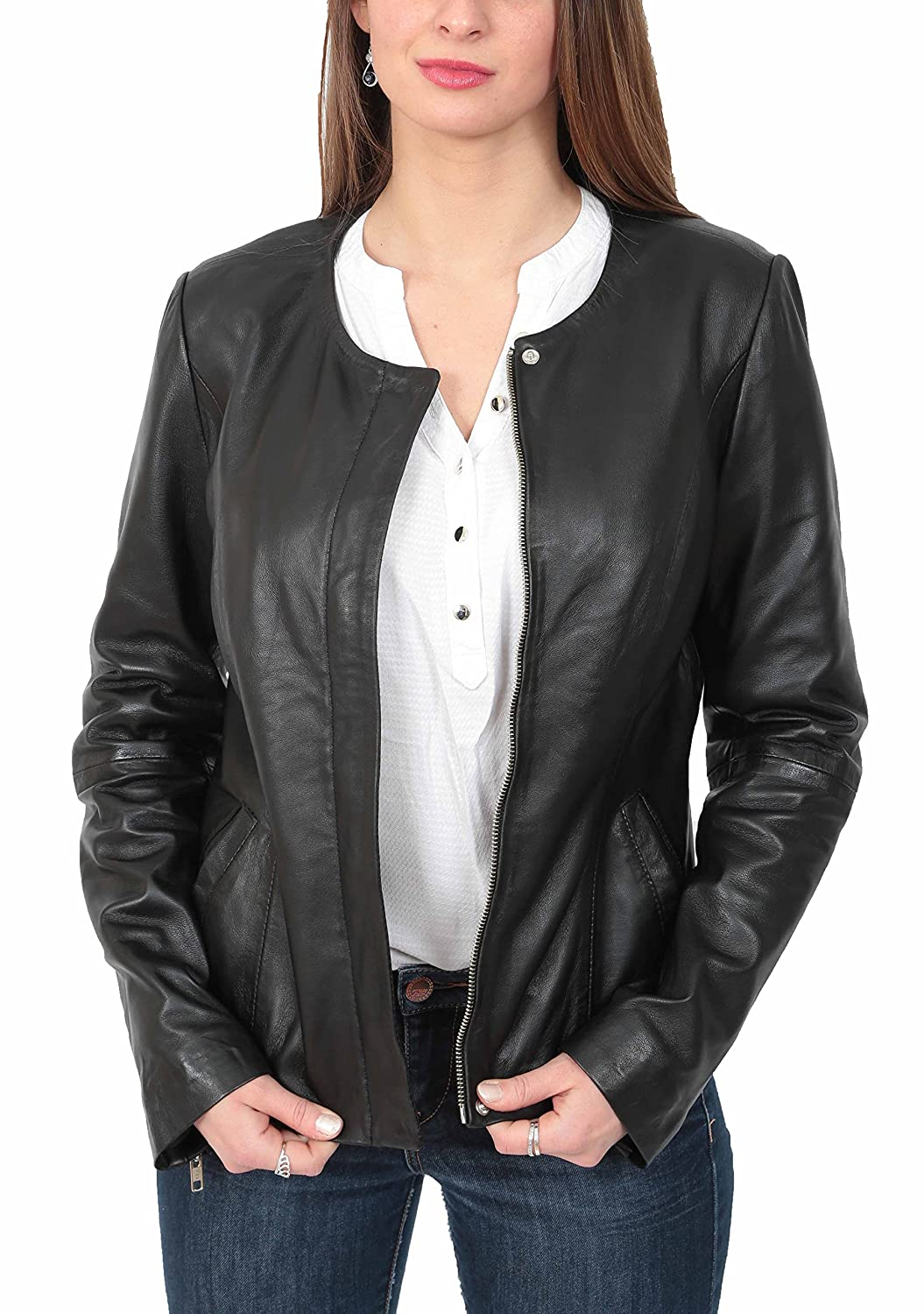 3e145cf5b Real Leather Collarless Jacket for Women Tailored Cut Slim Fit Ladies Coat  Moreno Black