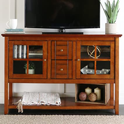 WE Furniture 52u0026quot; Console Table Wood TV Stand Console, ...