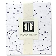 Ivanka Trump Stargazer Collection: Nursery Bedding Baby Crib Bedding Fitted Sheet 100% Cotton 200 Thread Count - White and Blue Galaxy Stars