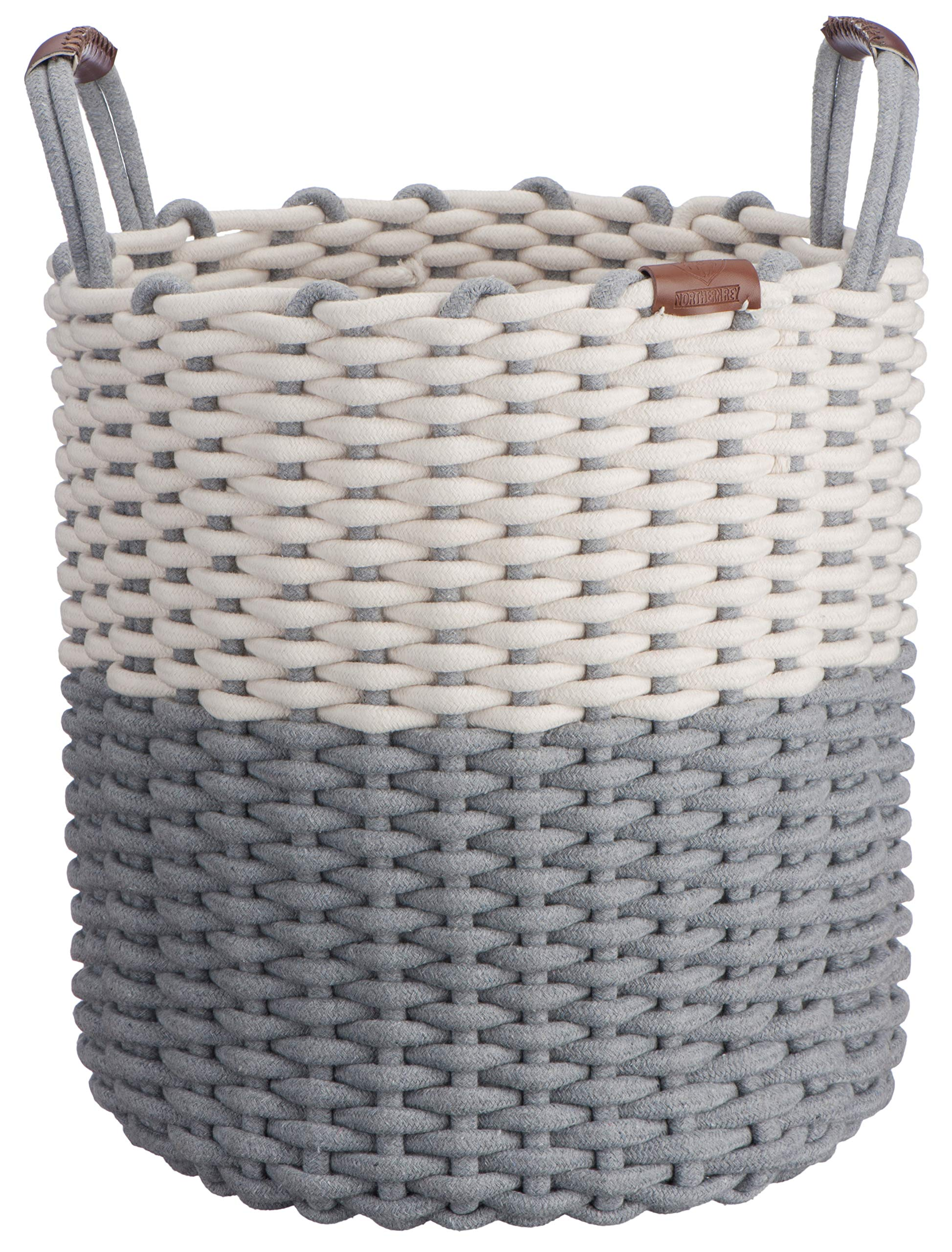 Northern Rey Cotton Rope Basket - Large, Handmade with Handles - Circular Basket for Kids Toys, Blanket, Pillows, Throws, Laundry Organizer, Hamper, Storage Bin Basket, Chic Grey - 17 x 14.7 Inches by Northern Rey