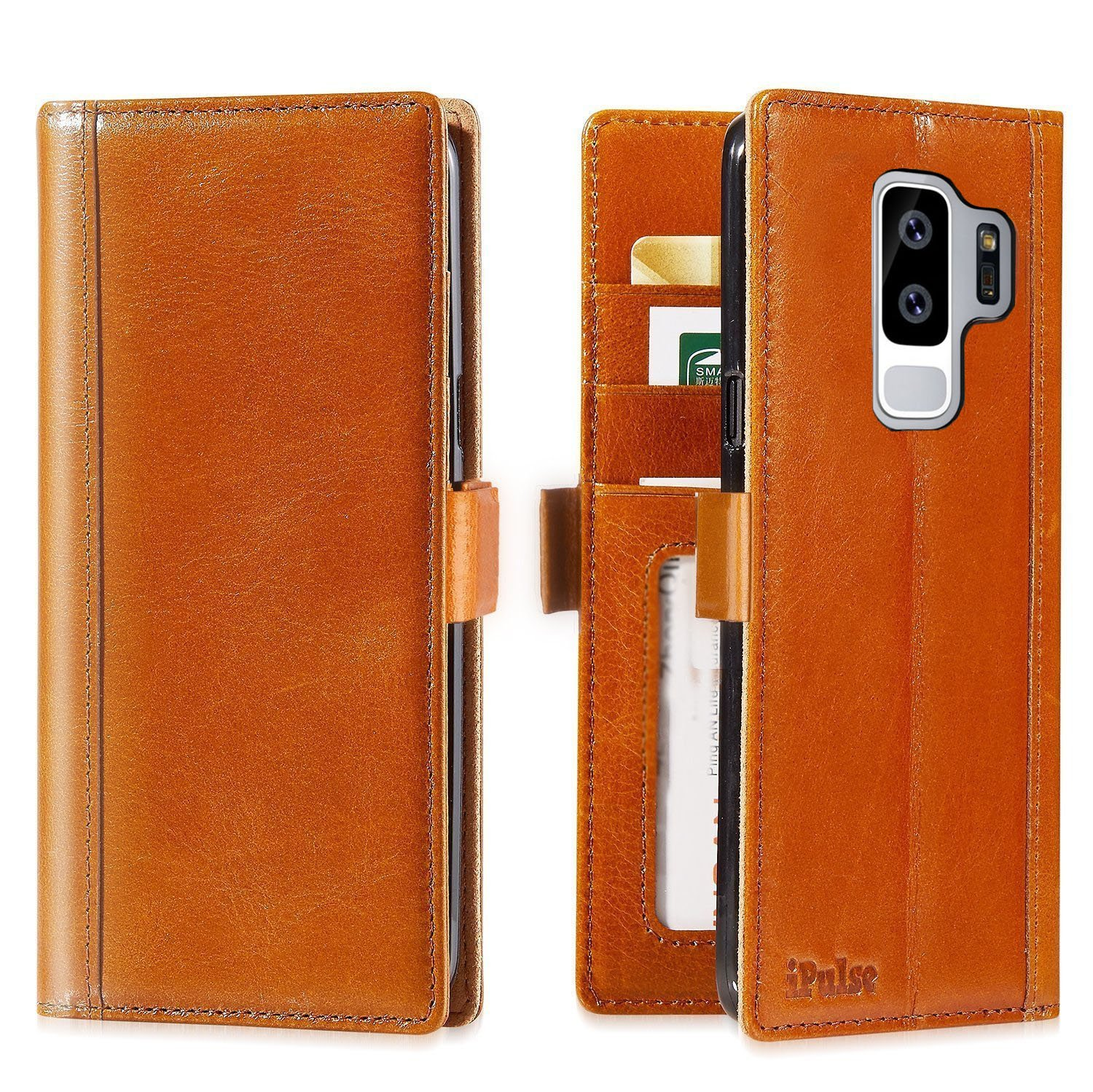 Galaxy S9 Plus Wallet Case Leather - iPulse Journal Series Italian Full Grain Leather Handmade Flip Case For Samsung Galaxy S9 Plus with Magnetic Closure - Cognac