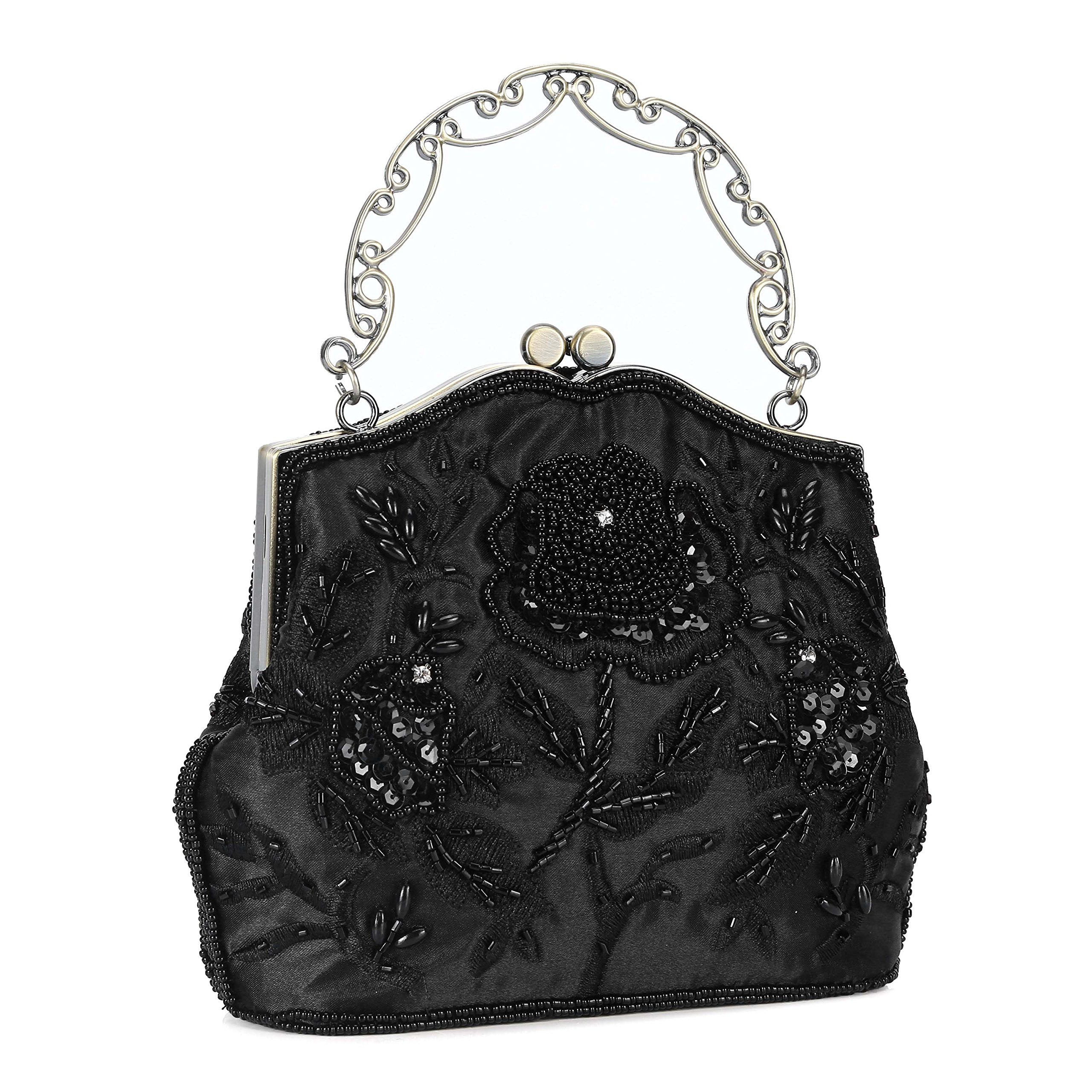 Chichitop Women's Vintage Flower Beaded Sequin Evening Clutch Wedding Purse Party Bags (Black)