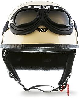Moto Helmets D22 Braincap Casque de moto//Vespa//rollers//scooter en cuir en forme de semi bol Aspect vintage Avec housse en textile