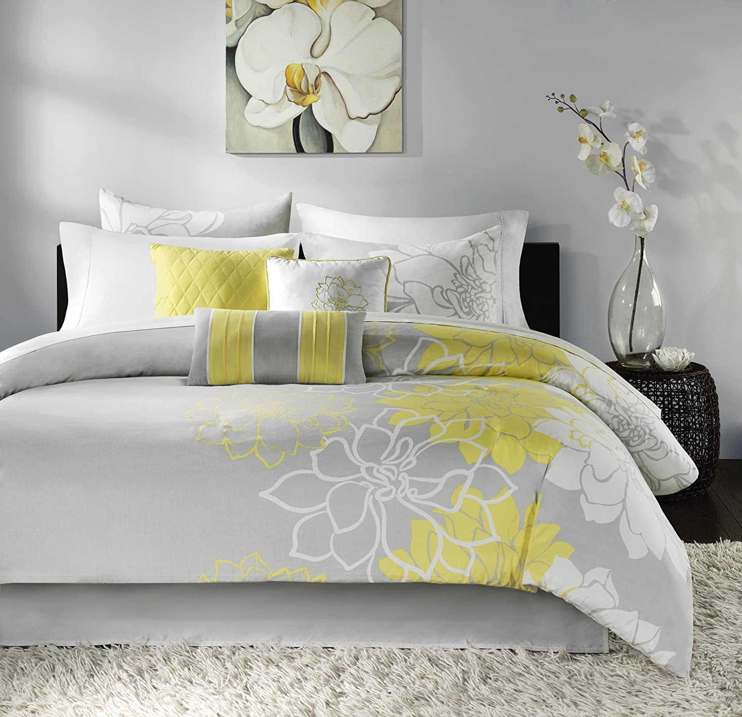 Madison Park Lola Comforter Set, King, Grey/Yellow