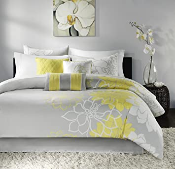 madison park lola comforter set queen greyyellow - Grey Comforters