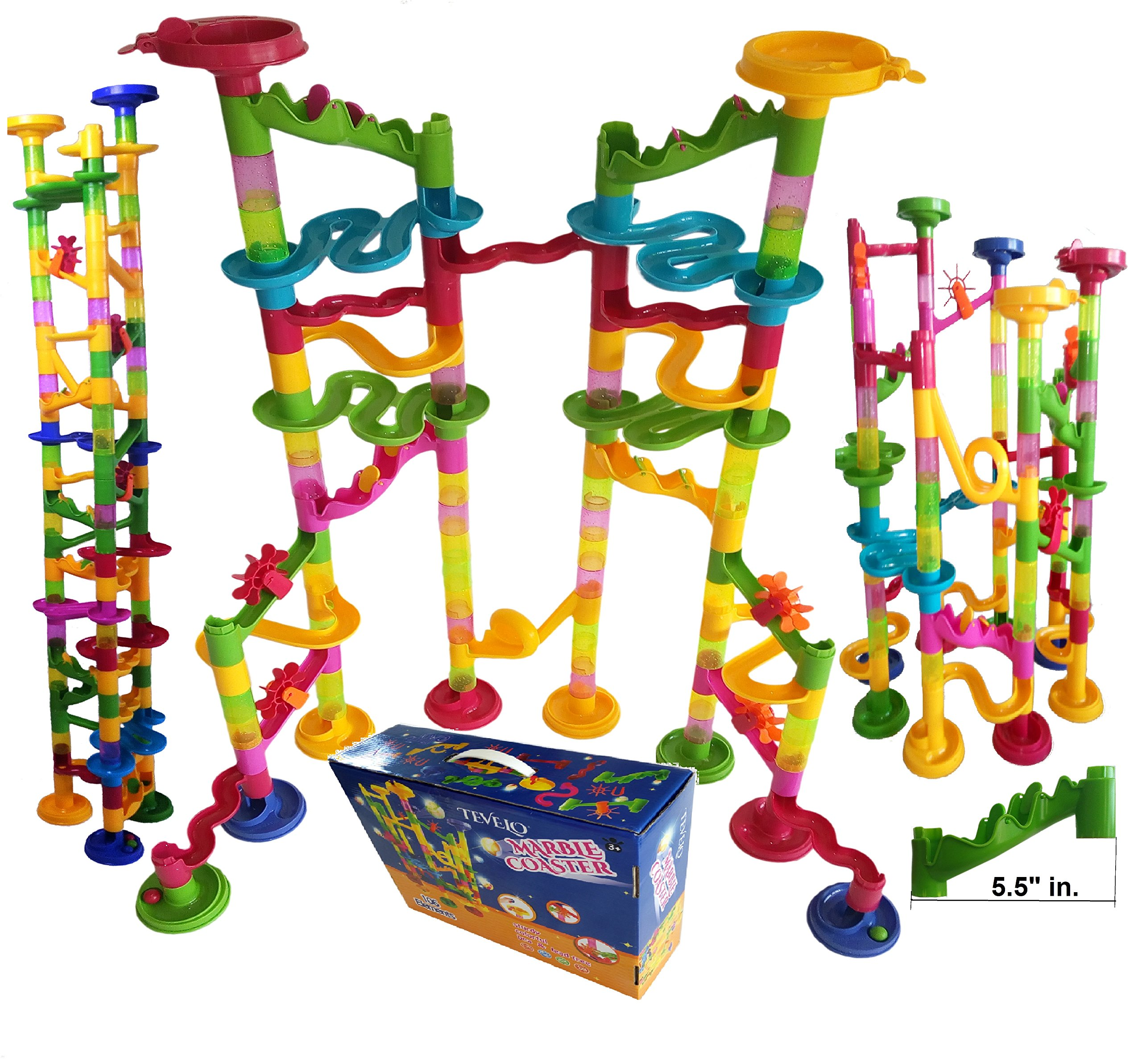 Marble Run Coaster 106 BIG Elements Kit 76 Blocks+30 Plastic Marbles. Tracks length 194'' Genius Fun Set. Learning Railway Construction. TEVELO DIY Endless Design Maze, Classic Toy for Family.