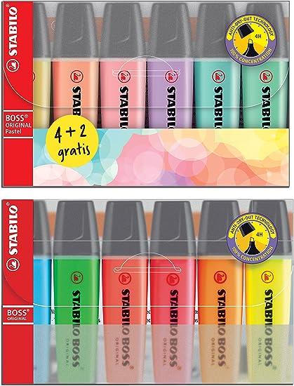 6 Stabilo Boss Original y 6 Stabilo Boss Pastel: Amazon.es: Oficina y papelería