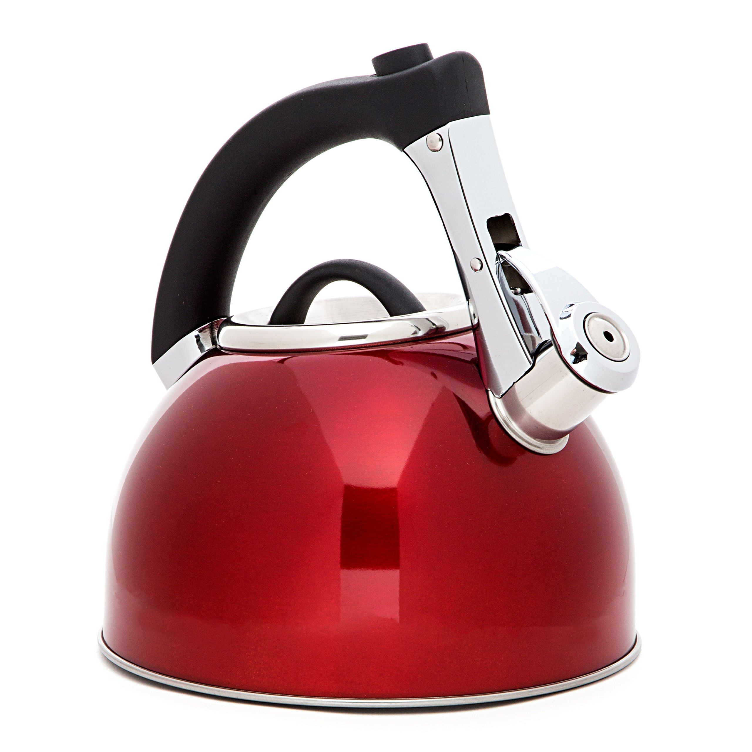 HULLR Stainless Steel Quick Water Boiling Tea Whistling Kettle, 3.1-Quart, with Easy Handling and Thumb-Press Pour Spout, Shiny Red