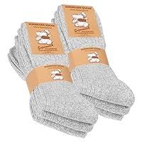 VCA Textil Lot de 6 paires de chaussettes norvégiennes - laine épaisse - semelle molletonnée - gris chiné