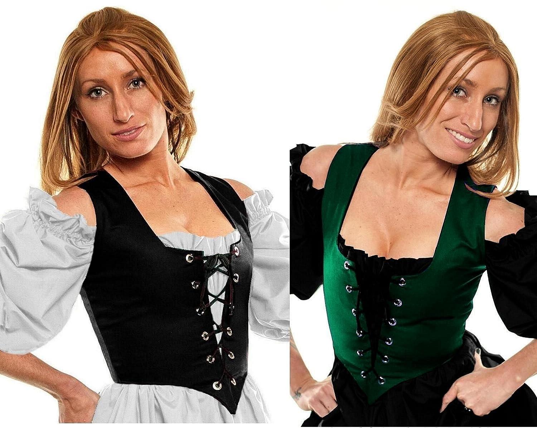 Renaissance Costume Reversible Pirate Wench Bodice Corset Top Burgundy / Black