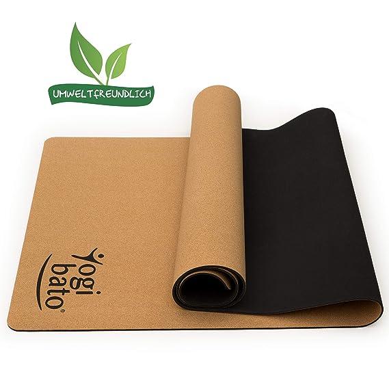 Yogibato Yoga-Matte aus Kork & Naturkautschuk [183 x 61 x 0,4 cm] - Korkmatte mit Tragegurt - Rutschfest & schadstofffrei - P