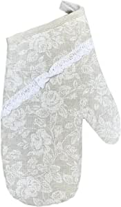 Provence Cotton Oven Mitt with Cotton Lace in French Country Style, 6'' x 13'', White Rose