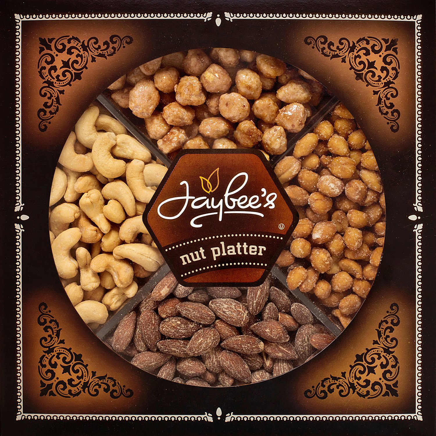 Jaybee's Nuts Gift Tray - Great Holiday, Corporate, Birthday Gift, or as Everyday Healthy Snack - Cashews, Smoked Almonds, Toffee & Honey Roasted Peanuts, Vegetarian Friendly and Kosher by Jaybee's