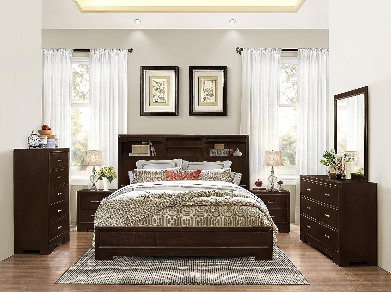 Amazon.com: Montana 6-PC Walnut Modern Wood Bedroom Set, Queen Bed ...