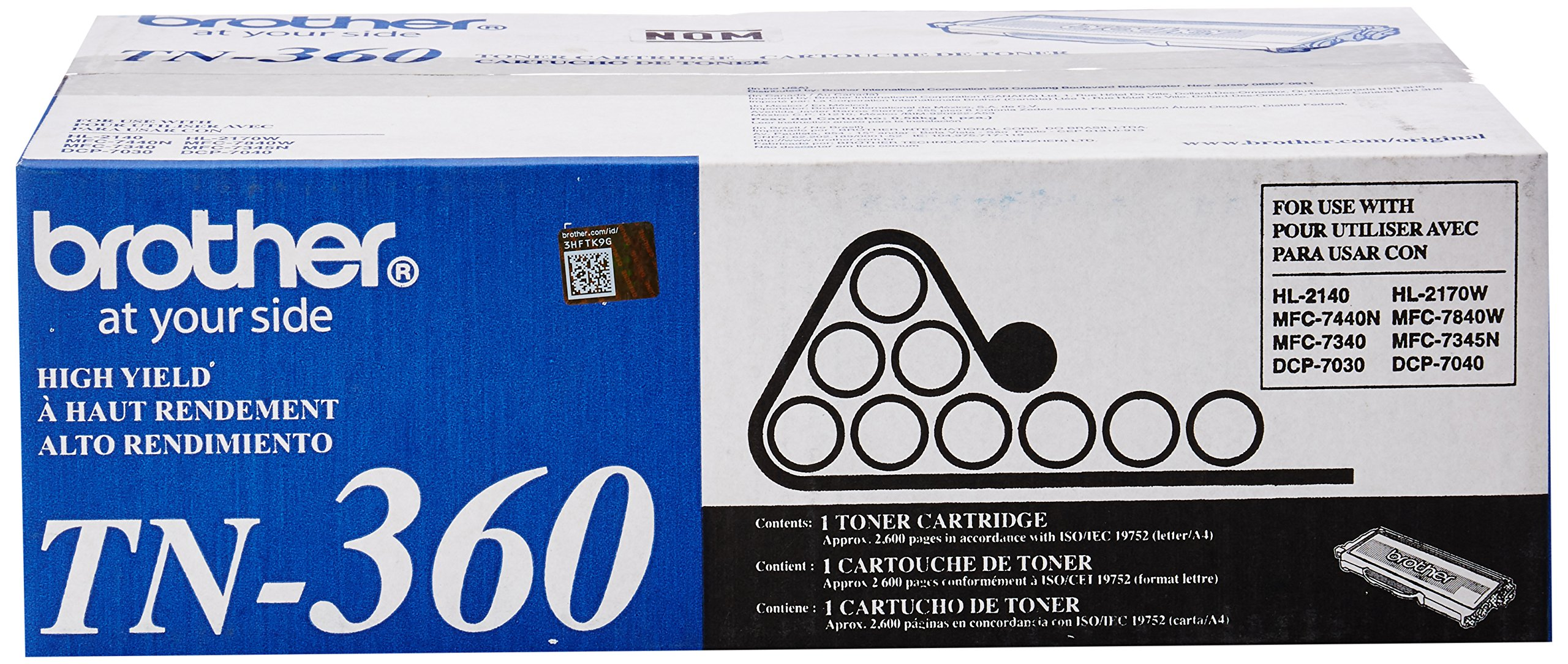Brother Genuine TN360 High Yield Mono Laser Toner Cartridge by Brother