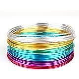 Creacraft 30 mètres fil aluminium: 6 bobines de 5m pour perlage et bijoux (différentes couleurs) (1 mm)