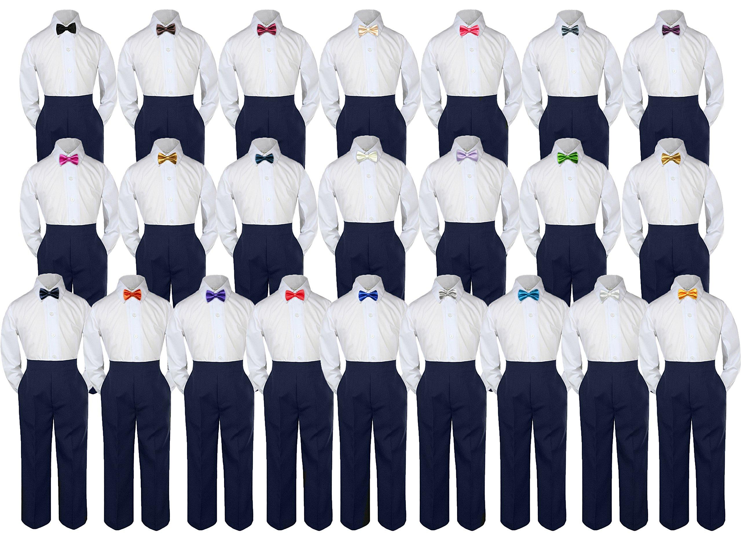 3pc Baby Toddler Boy Kid Party Wedding Suit NAVY Pants Shirt Bow Tie Set Sm-4T (Medium ( 6-12 Months ), Eggplant)
