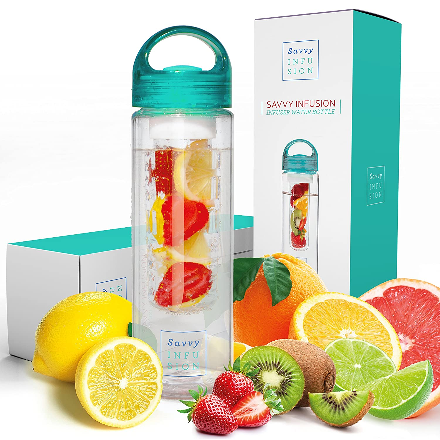Savvy Infusion Water Bottle - 24 or 32 Ounce - Featuring Unique Leak-Proof Silicone Sealed Cap w/ Handle - Includes Bonus Recipe Ebook One Savvy Life FB-SI-BLUE-15