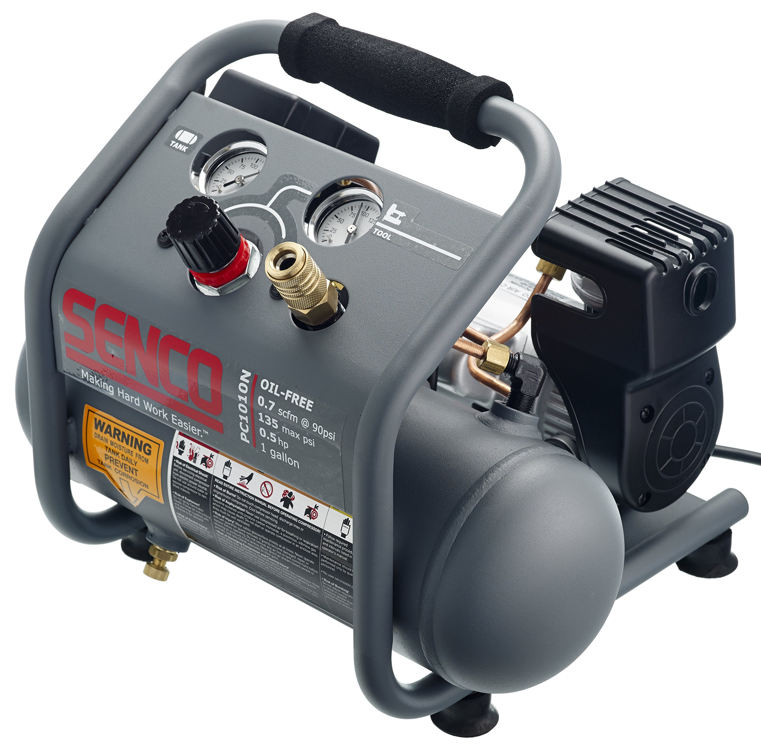 Senco PC1010N 1/2 hp Finish and Trim Portable Hot Dog Compressor, 1 gallon, Grey by Senco (Image #2)