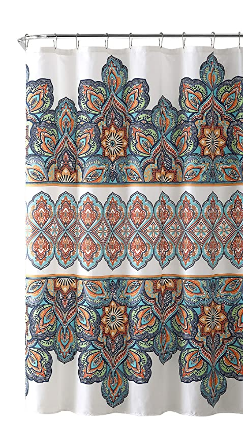 VCNY Home Bohemian Aqua Blue Orange Fabric Shower Curtain Colorful Floral Eclectic Design