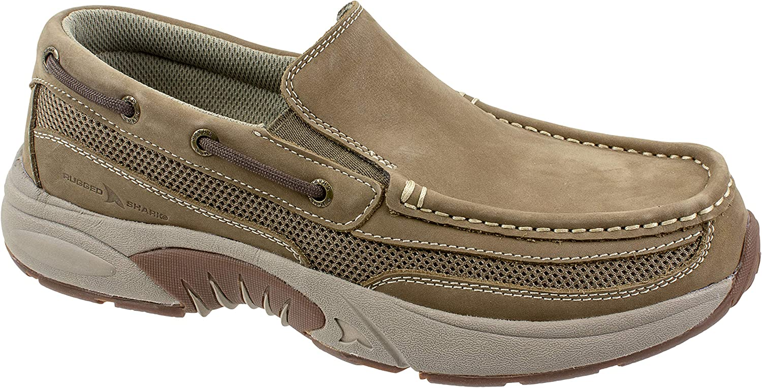 Rugged Shark Men's Pacifico Boat Shoe, Slip-On Comfort, Premium Leather, Tan, Men's Sizes 9 to 13