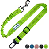 Zenify Dog Car Seat Belt Seatbelt Lead Puppy Harness - Extendable Bungee Adjustable Carseat Clip Buckle Leash for Dogs Puppies Pets Travel - Pet Safe Collar Accessories Supplies Truck Safety (Green)