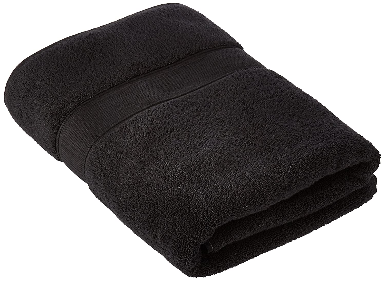 CDM product Traditional Mafia - 100Percent Zero-Twist Cotton 1-Piece Oversized Bath Sheet/Beach Towel, 1000 GSM, Black big image